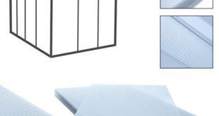 Hohlkammerplatten Doppelstegplatten 14 Stueck 1025 m² 605 x 121 cm 310x165 - Hohlkammerplatten Doppelstegplatten 14 Stück, 10,25 m², 60,5 x 121 cm, transparente Polykarbonat Platten 4 mm stark, Gewicht: 700g/m², Stegplatte, klar, Gewächshausplatten