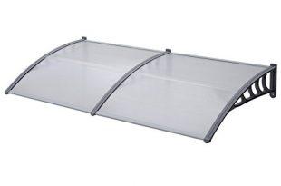 SVITA Vordach Tür-Dach Überdachung transparent Schutz vor Niederschlag und Witterung (90 x 200 cm, Grau)