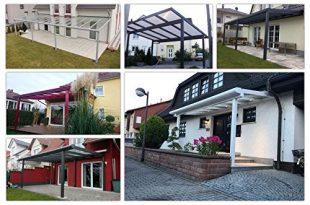 Terassenüberdachung | Bausatz inkl. klare Hohlkammerplatten | integriertes Dachrinnen-System | pulverbeschichtetes Aluminium | Farb- und Größenauswahl | Wandmontage | 700x400cm (BxT) | weiß