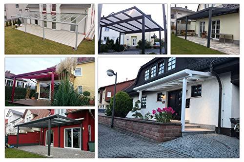 Terassenüberdachung | Bausatz inkl. opale Hohlkammerplatten | integriertes Dachrinnen-System | pulverbeschichtetes Aluminium | Farb- und Größenauswahl | Wandmontage | 700x400cm (BxT) | silbergrau